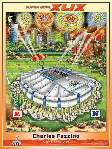 Super Bowl XLIX (Arizona 2015) Official Commemorative Pop Art Poster - Fazzino