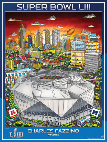 Super Bowl LIII (Atlanta 2019) Official NFL Football Commemorative Pop Art Poster - Fazzino