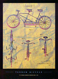 """Tandem Bicycle Patent Art"" - Patent Poster Co. 2000"