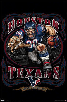 "Houston Texans ""Grinding it Out"" NFL Theme Art Poster - Costacos Sports"