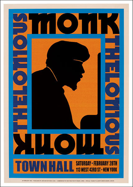 Thelonious Monk at Town Hall 1959 Jazz Concert Poster Recreation - Jazz Age Editions c.2001
