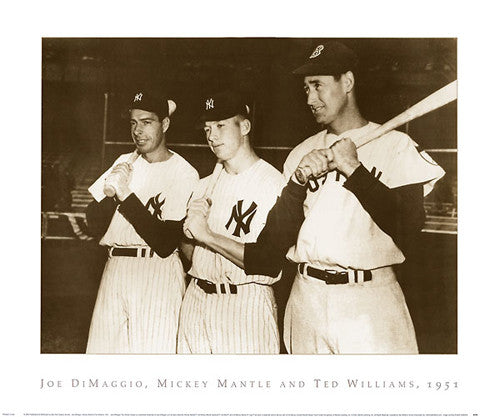 Joe DiMaggio, Mickey Mantle, and Ted Williams, 1951 - NYGS