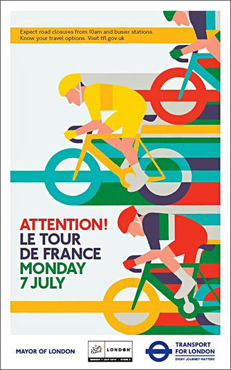 Tour de France 2014 in London UK Tom Eckersley Style Cycling Poster #1/2 - London Transport Museum
