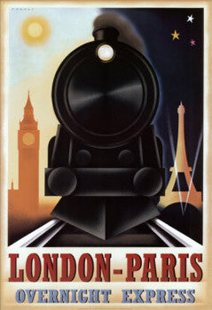 """London-Paris Overnight Express"" Vintage-Style Train Poster by Steve Forney"