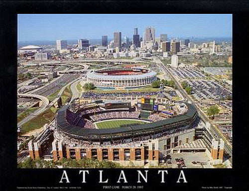 "Turner Field ""First Game"" Atlanta Braves Stadium Poster - Aerial Views 1997"
