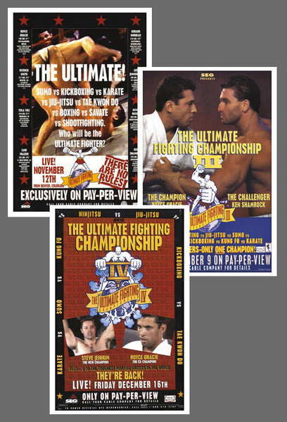"UFC #1, #3, #4 Official Event Poster Reproductions Set (13""x19"") - Pyramid America"