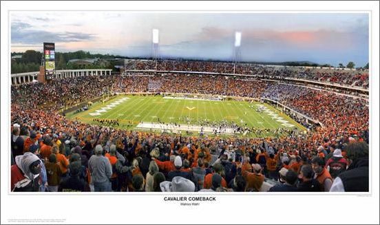 "Virginia Cavaliers Football ""Cavalier Comeback"" Scott Stadium Panoramic Poster Print - SPI 2008"