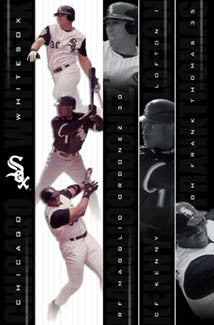 "Chicago White Sox ""Three Stars"" (Thomas, Lofton, Ordonez) Poster - Costacos 2002"