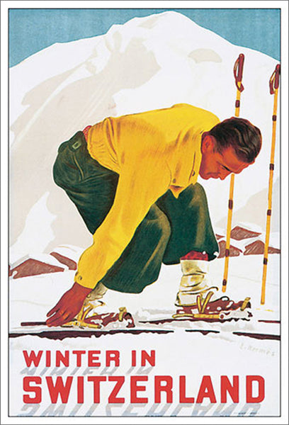 Winter in Switzerland (1938) Vintage Skiing Poster Reprint - Eurographics