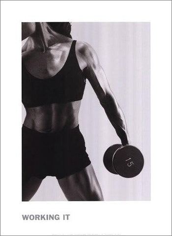 "Women's Fitness ""Working It"" Black-and-White Photo Poster Print - McGaw Group"