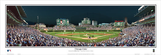 Chicago Cubs Wrigley Field Game Night Panoramic Poster - Everlasting Images 2015
