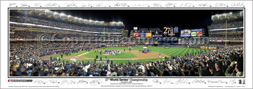 New York Yankees 2009 World Series Celebration w/SIGNATURES Panoramic Print