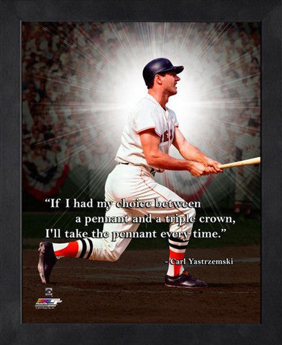 "Carl Yastrzemski ""Pennant"" Boston Red Sox FRAMED 16x20 PRO QUOTES PRINT - Photofile"