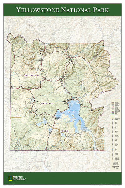Yellowstone National Park National Geographic 24x36 Wall Map Poster - NG Maps