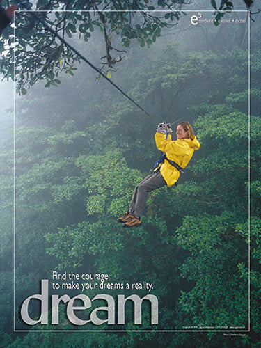 "Ziplining Adventure ""Dream"" Motivational Inspirational Poster - Jaguar Inc."