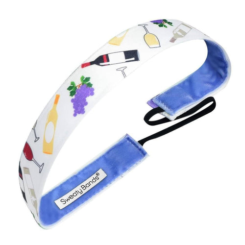 Wine and Grapes White Sweaty Bands Non Slip Headband