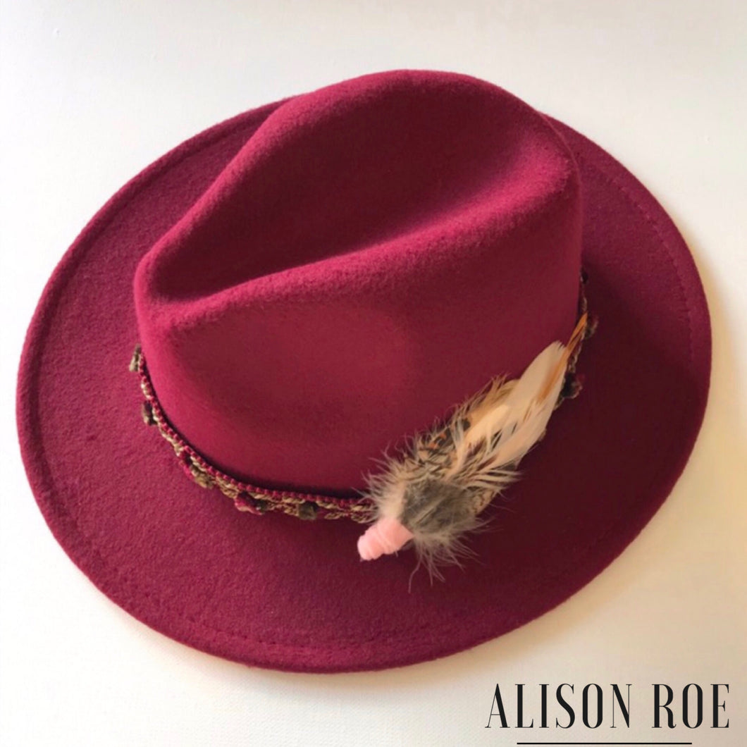 C40 - Wine Fedora with Pink Feather Hat Pin for Hire