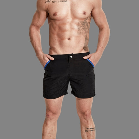 Summer Daze black men's swim shorts with zipping fly and snap button by Ochox