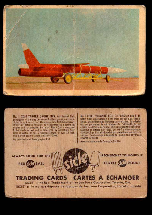 1959 Sicle Aircraft & Missile Canadian Vintage Trading Card U Pick Singles #1-25 #1 XQ-4 Target Drone  - TvMovieCards.com