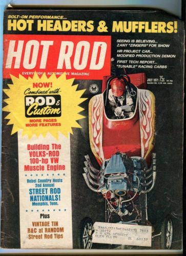 1971 July Hot Rod Magazine Back Issue - Volks-Rod 100 HP VW Muscle Engine   - TvMovieCards.com