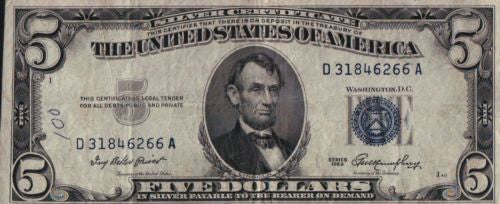 (3) 1953 Fr 1655 $5 Silver Certificates Blue Seal Lincoln Priest and Humphrey   - TvMovieCards.com