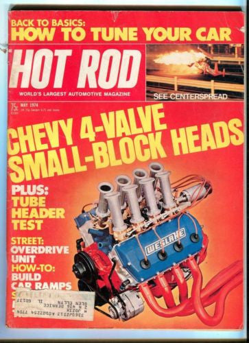 1974 May Hot Rod Magazine March Back Issue - Chevy 4 Valve Small Block Heads   - TvMovieCards.com