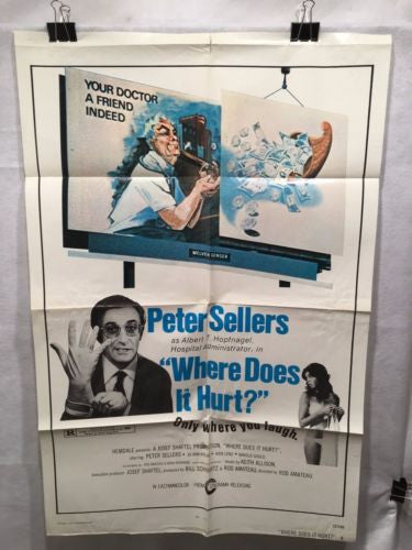"Original 1972 ""Where does it hurt?"" 1 Sheet Movie Poster 27""x 41"" Peter Sellers   - TvMovieCards.com"