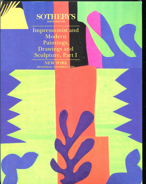 Sothebys Auction Catalog Nov 3 1993 Impressionist Modern Paintings Drawings   - TvMovieCards.com