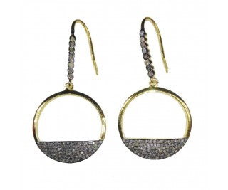Two toned diamond pave earrings