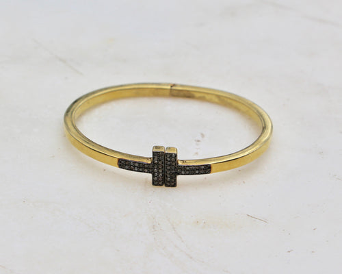 Diamond Pave Cross bracelet in gold