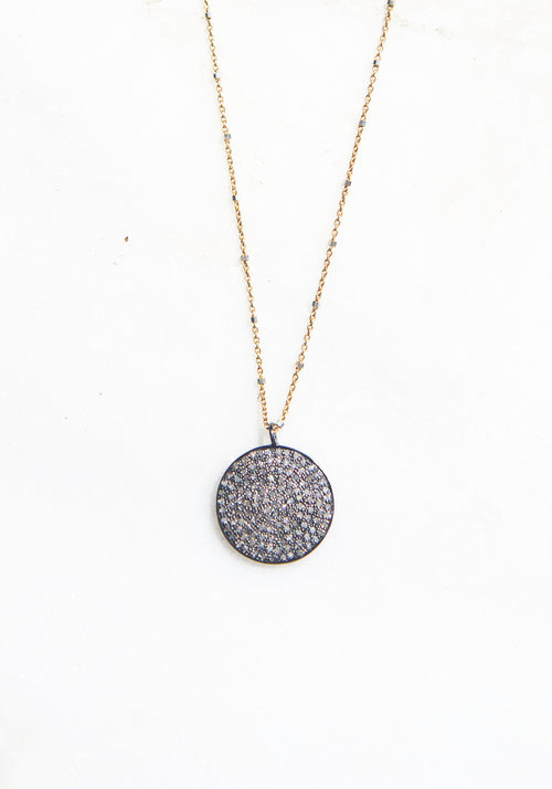 Small Elegant Pave Pendant on Gold Necklace