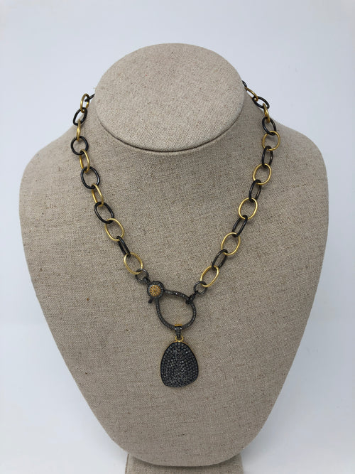 Black and Gold Chain with Diamond Clasp