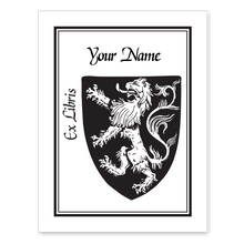 Rampant Lion Bookplate • Ex Libris Your Name • White Paper
