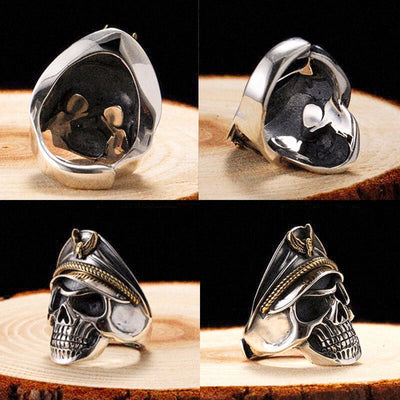 WWII Soldier Anniversary 925 Silver Skull Ring