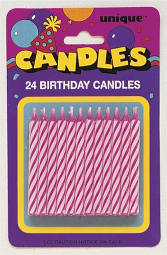 24 Pink Party Candles in a pink and white spiral design