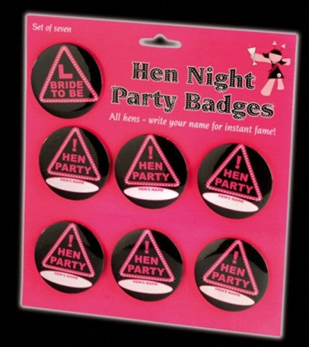 Hen Night party badges 1 badge reads Hen others read girl name pink in background.