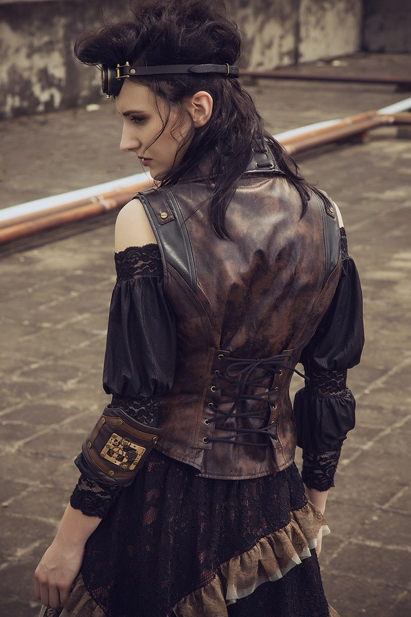 MadBurner Sleeveless Leather Steampunk Jacket
