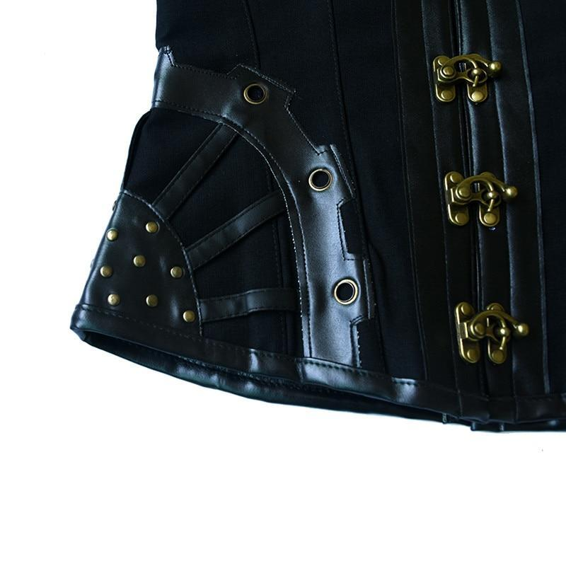 MadBurner Steampunk Black Leather Corset