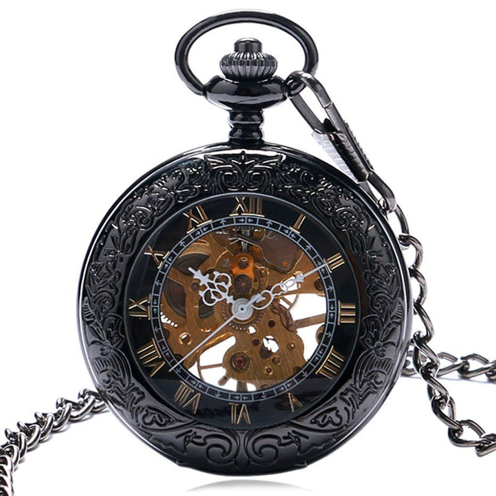 Victorian Steampunk Fashion Mad Burner Black Vintage Mechanical Pocket Watch
