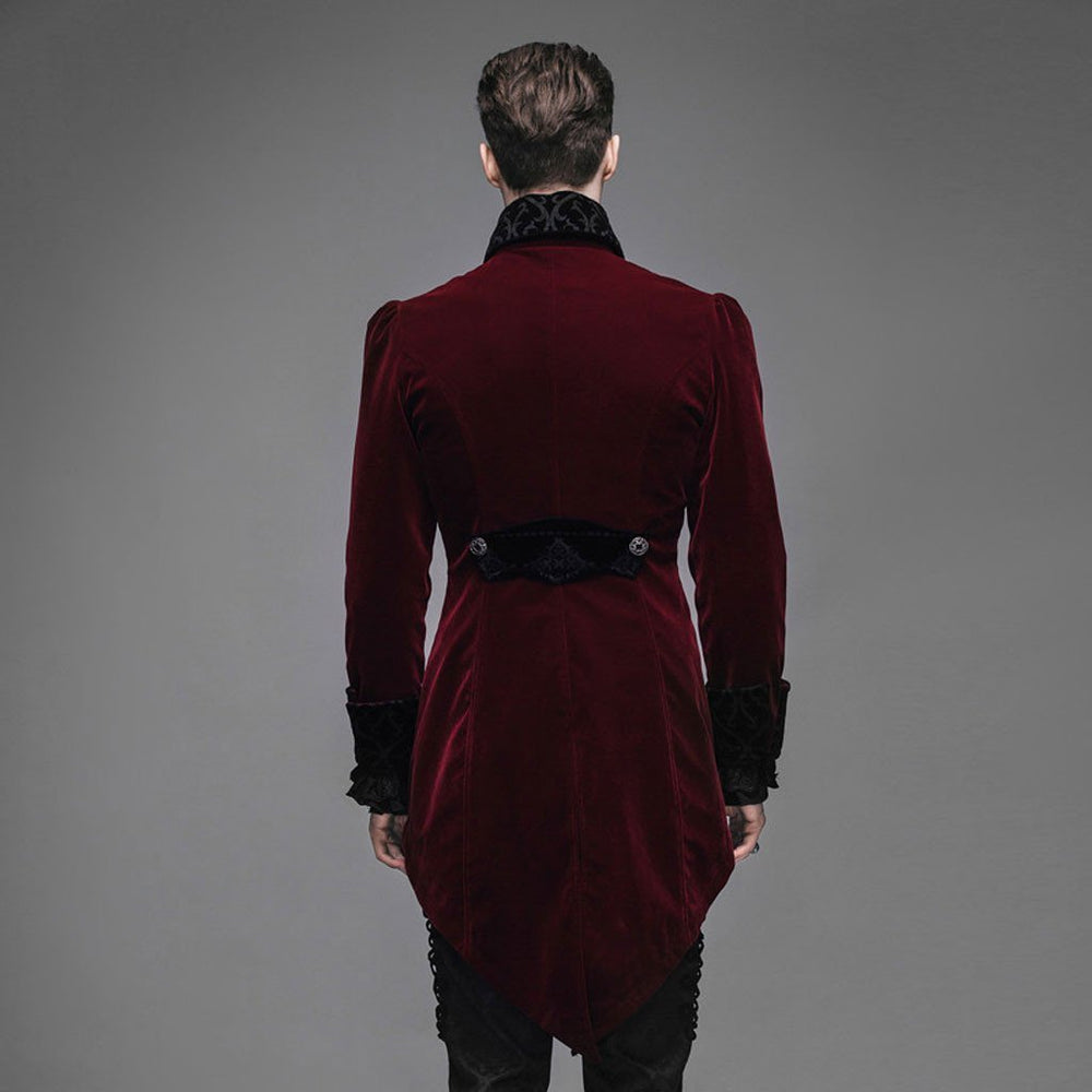 Victorian Steampunk Fashion Mad Burner Men Velvet Long Coat