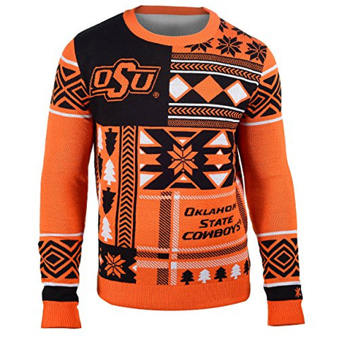 Forever Collectibles NCAA Men's Oklahoma State Cowboys Patches Ugly Sweater