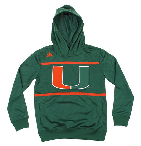 Adidas NCAA Youth Miami Hurricanes Amped Player Performance Pullover Hoodie