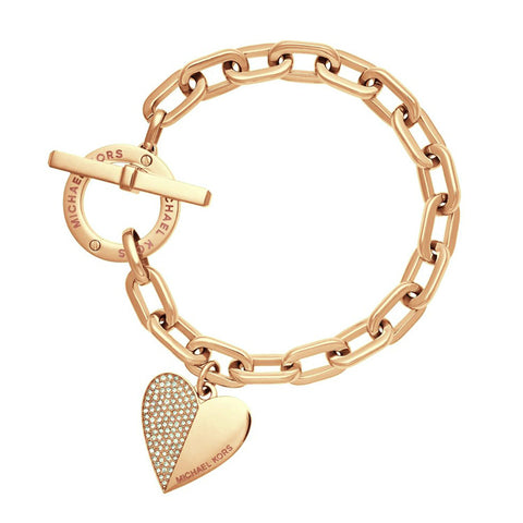 Trendy Heart Link Chain Polishing Crystal Bracelet