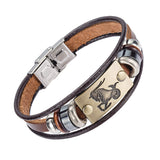 Alibaba Europe Fashion 12 Zodiac Signs Stainless Steel Clasp Leather Bracelet for Men
