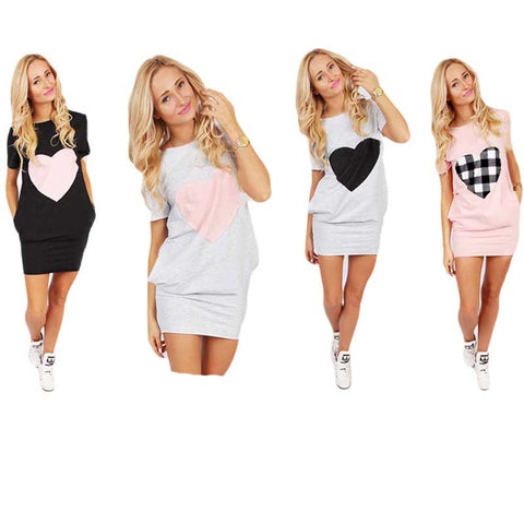 Heart Print Tennis Dress Women Hips Length Sport Dress