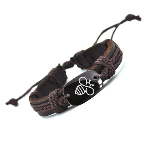 Customized Lovely Bee Leather Handmade Bracelet for Men