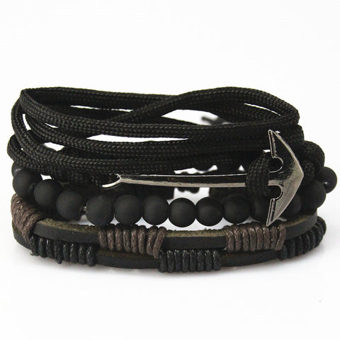 Anchor Bead Multilayer Braided Leather Bracelets For Men