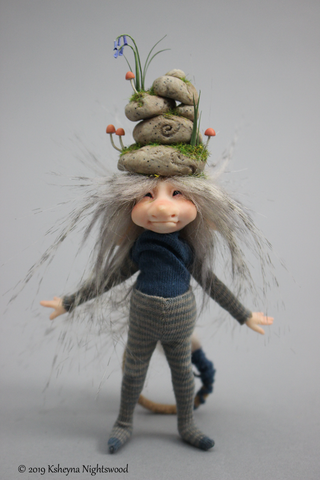 Brownie art doll with stacked stones by Nightswood