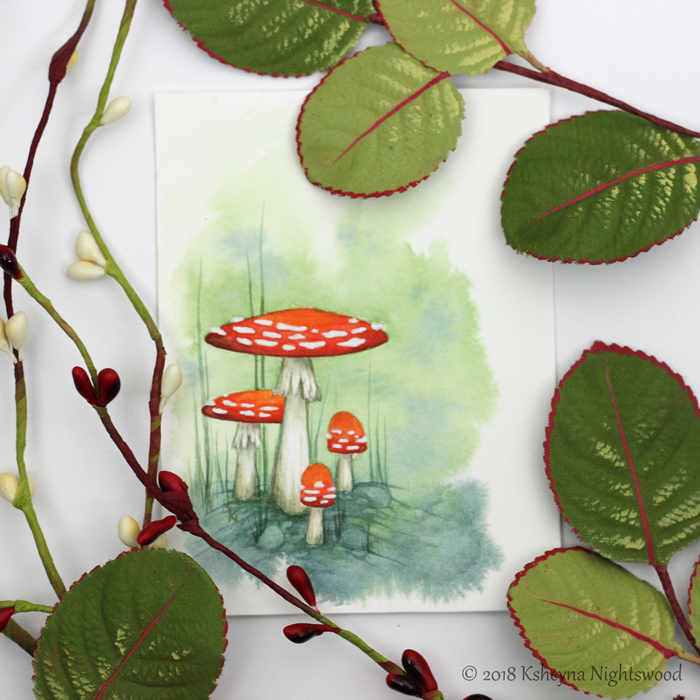 Faerie Mushrooms - Original Watercolour Painting