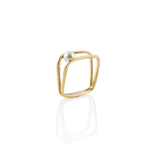 Equilibrium Freshwater Pearl In-Between Ring in Sterling Silver or 22k Gold